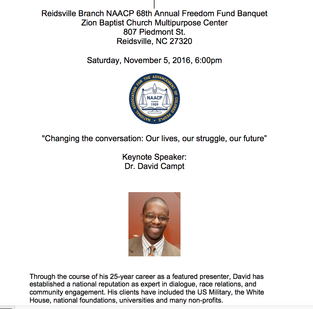 A flyer for a 2016 keynote speech for the NAACP