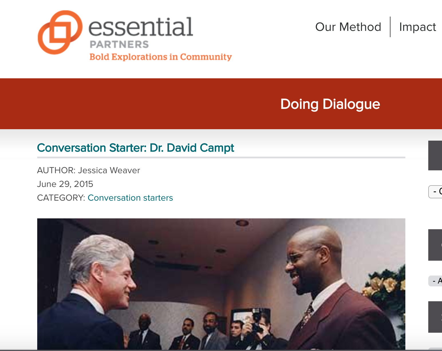 Screenshot from guest blog for Essential Partners