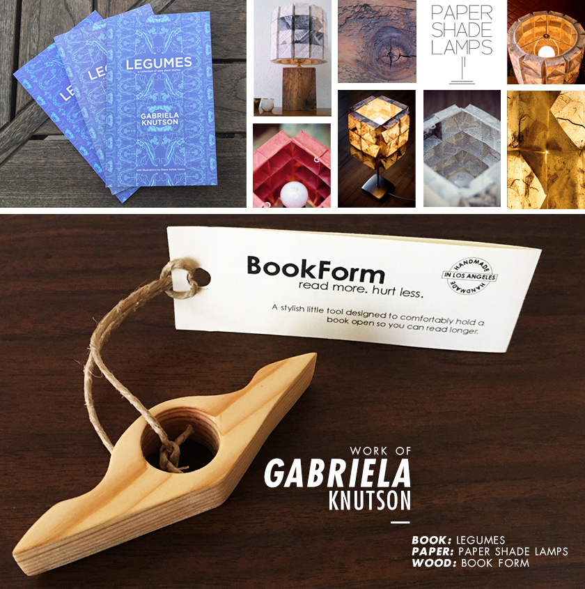 Work of Gabriela Knutson—Book: Legumes – Paper: Paper Shade Lamps – Wood: Book Form