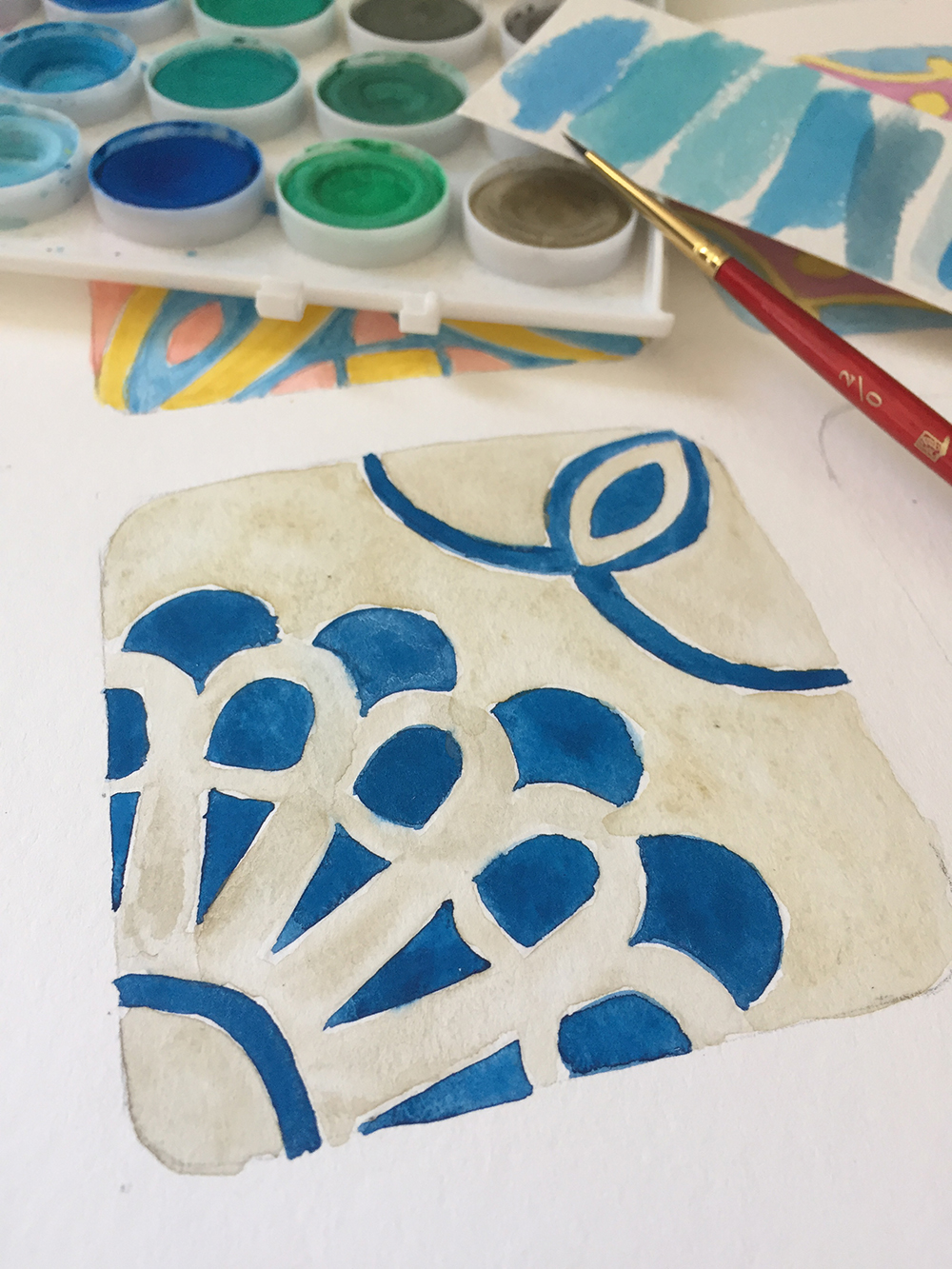 Mexican Talavera-inspired Tile Patterns in Watercolor // Curiosities Allowed // Creative blog of Lizelly Meza