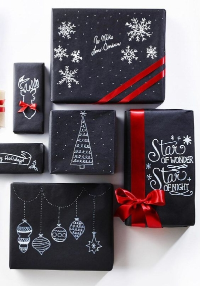 I always love a good opportunity to be creative! Chalk markers are huge right now &if you can't find wrapping paper that you love then get some gift wrap with a matte finish and go to town with some personal decor!