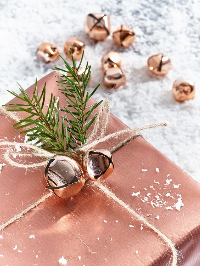 I love the metallic touches of the jingles bells and the wrapping paper! Plus, adding the bells adds an additional present!