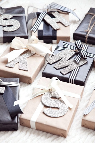 Sometimes adding a personal touch can be just what you need! Absolutely love the idea of adding the gift receiver's initials to the present!