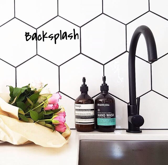 Hexagon tiles have made a HUGE impact on backsplash design and if you're looking to add some texture and life to a neutral kitchen, hex tiles are up for the task! Use a solid colour for the tile and a different colour grout – it creates a beautiful look with lots of contrast.