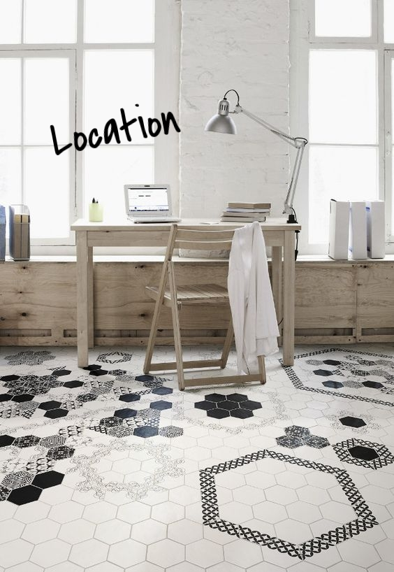 Hexagon tile are not just for bathrooms and kitchens! Use them in hallways, entryways, offices, mudrooms, etc. They create a beautiful look no matter where they are!