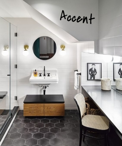 Why not try mixing hexagons with rectangle or square tiles to create an accent for your space. If you have rectangular tiles in your custom shower, do a section of your shower wall in hex tiles to make a statement! Or use the hexagon tiles as a border around your square tiles to give the space a classic look!