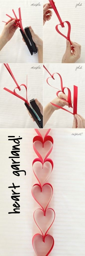 Easy to make Valentine's Day garland! Staple, fold, staple, fold!