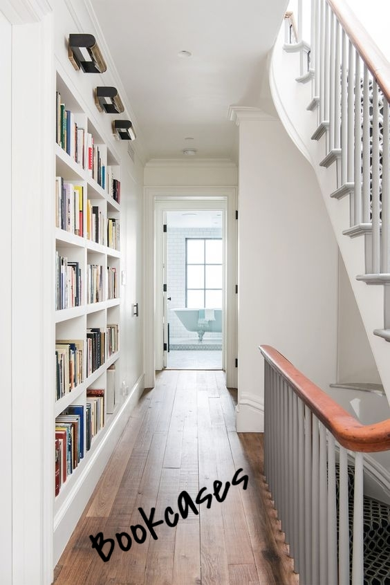 If you're hallway isn't too skinny, it is an awesome place to incorporate a bookcase. Hallway bookcases can be a great storage solution and an amazing design element.