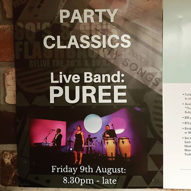 Live music this Friday night with the awesome PUREE.