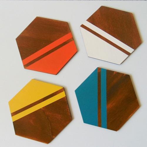 Hexagon Wood Coasters