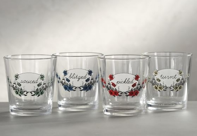 These sassy old-fashioned glasses from Fishs Eddy are sure to be a hit.
