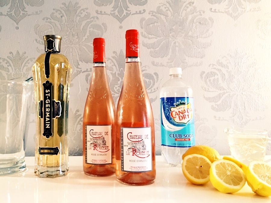 Rosé Elderflower Punch - Combine in a pitcher:1 Bottle of dry rosé wineJuice of 1 LemonSimple syrup (equal parts sugar and water melted together over low heat) TO TASTE*2 c. Club Soda1/2 c. St. Germain Elderflower LiqueurGarnish with a lemon wheel & paper straw