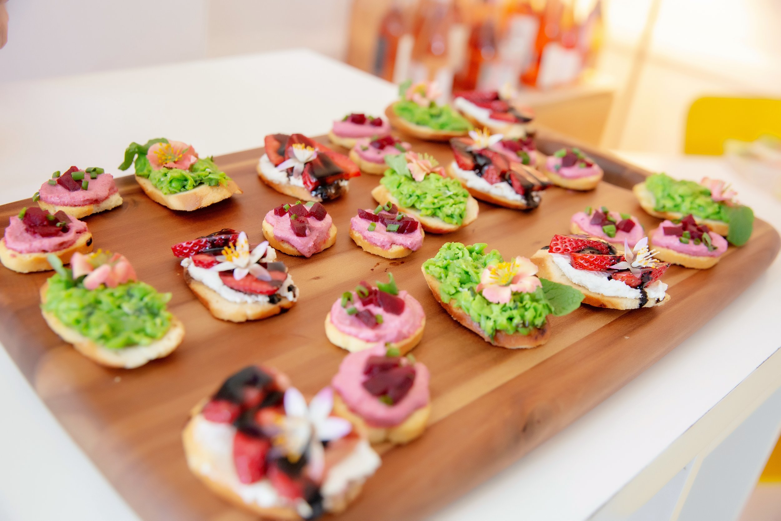 Sweet pea and mint crostini, beet and goat cheese crostini, strawberry balsamic toasts