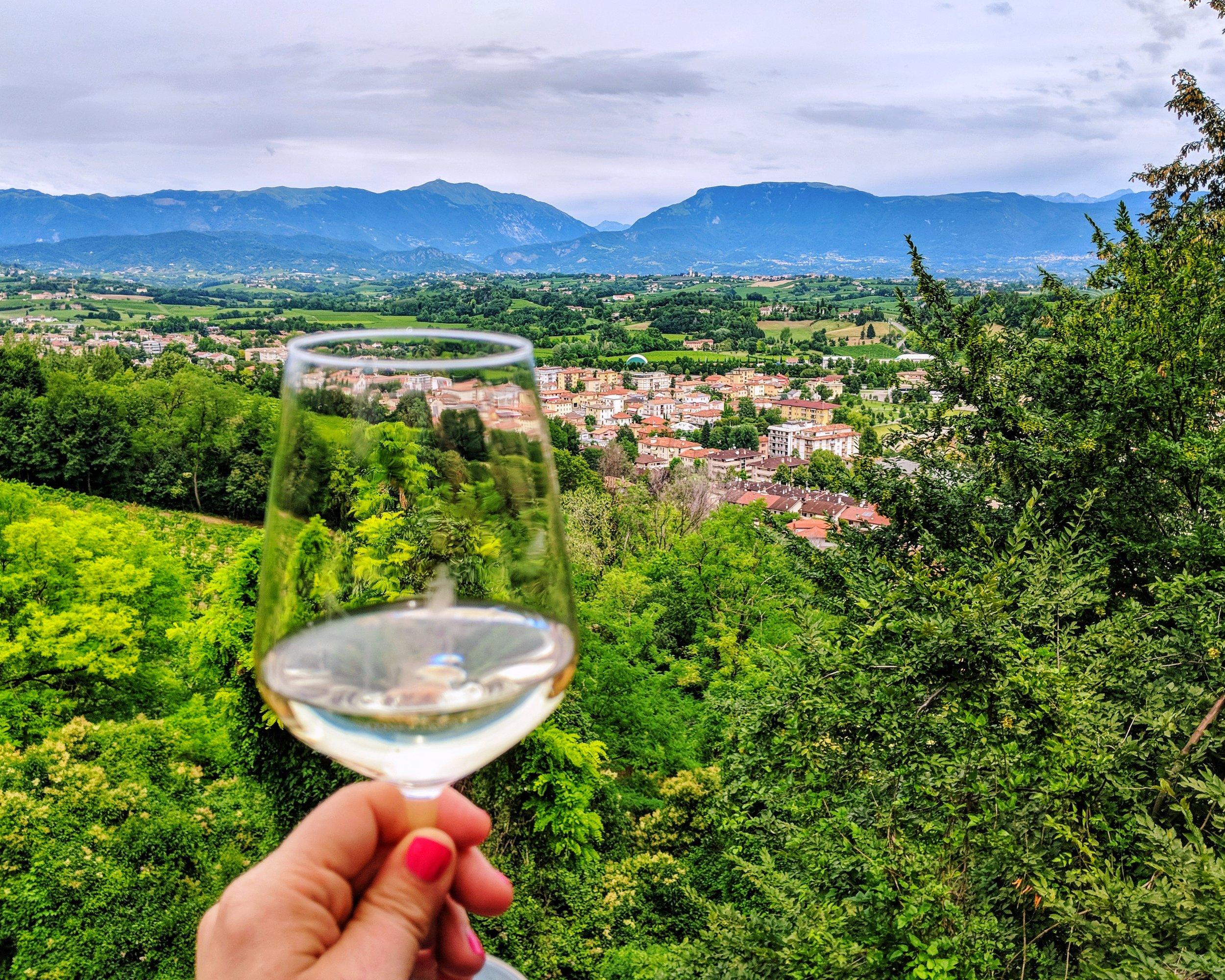 Tasting Prosecco at the top of Valdobiaddene in the Veneto Region of Italy