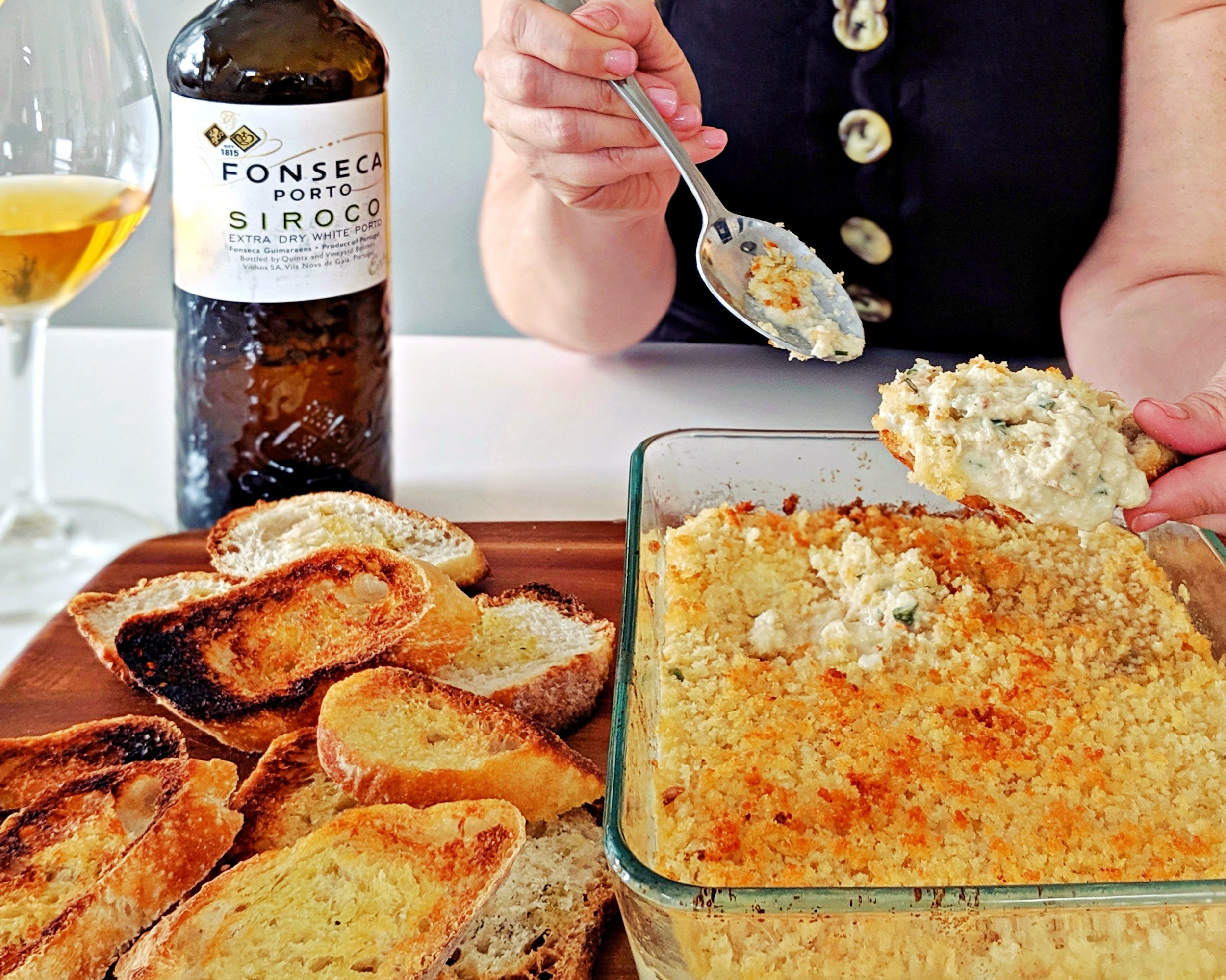 Warm Crab Dip is a perfect food pairing for white port.