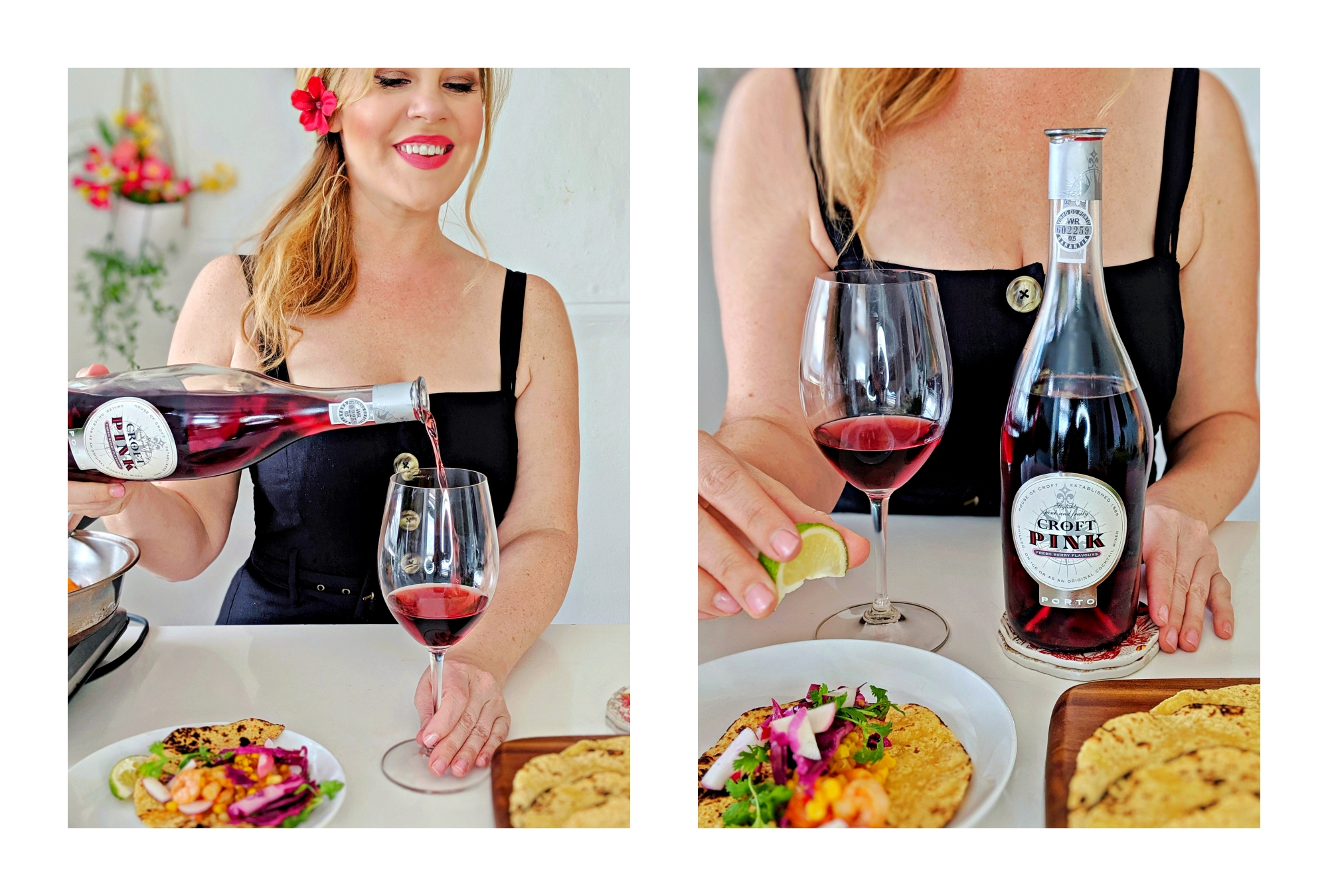 Wine pairing fun: rose port paired with Shrimp tacos!
