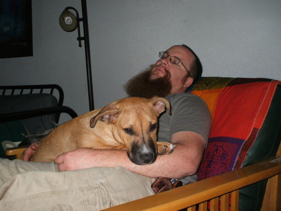Me and my mutt zonked out after a Blacksmithing Class.