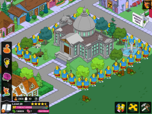 Mr Burns Mansion with a fence of comic book guys.