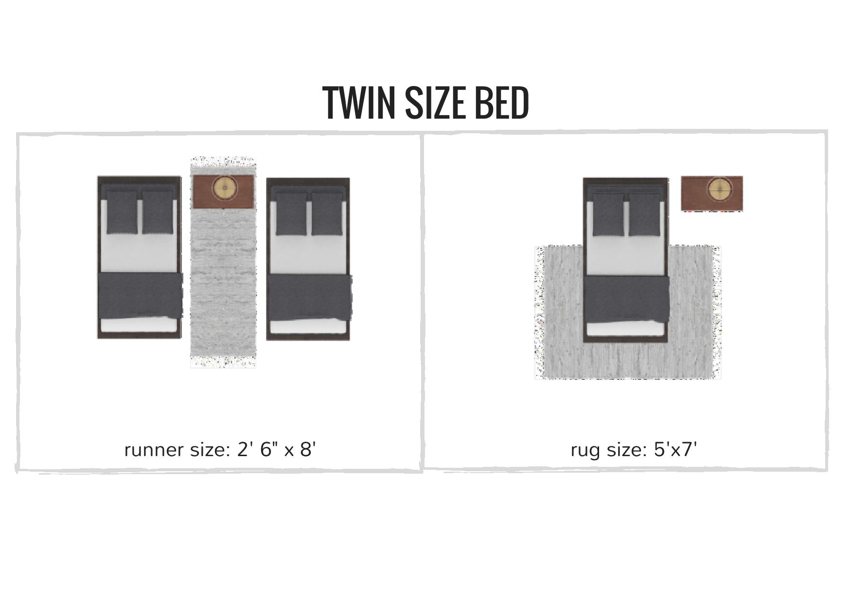 rug sizing and placement guide - what size rug do you need for your twin size bed / bedroom