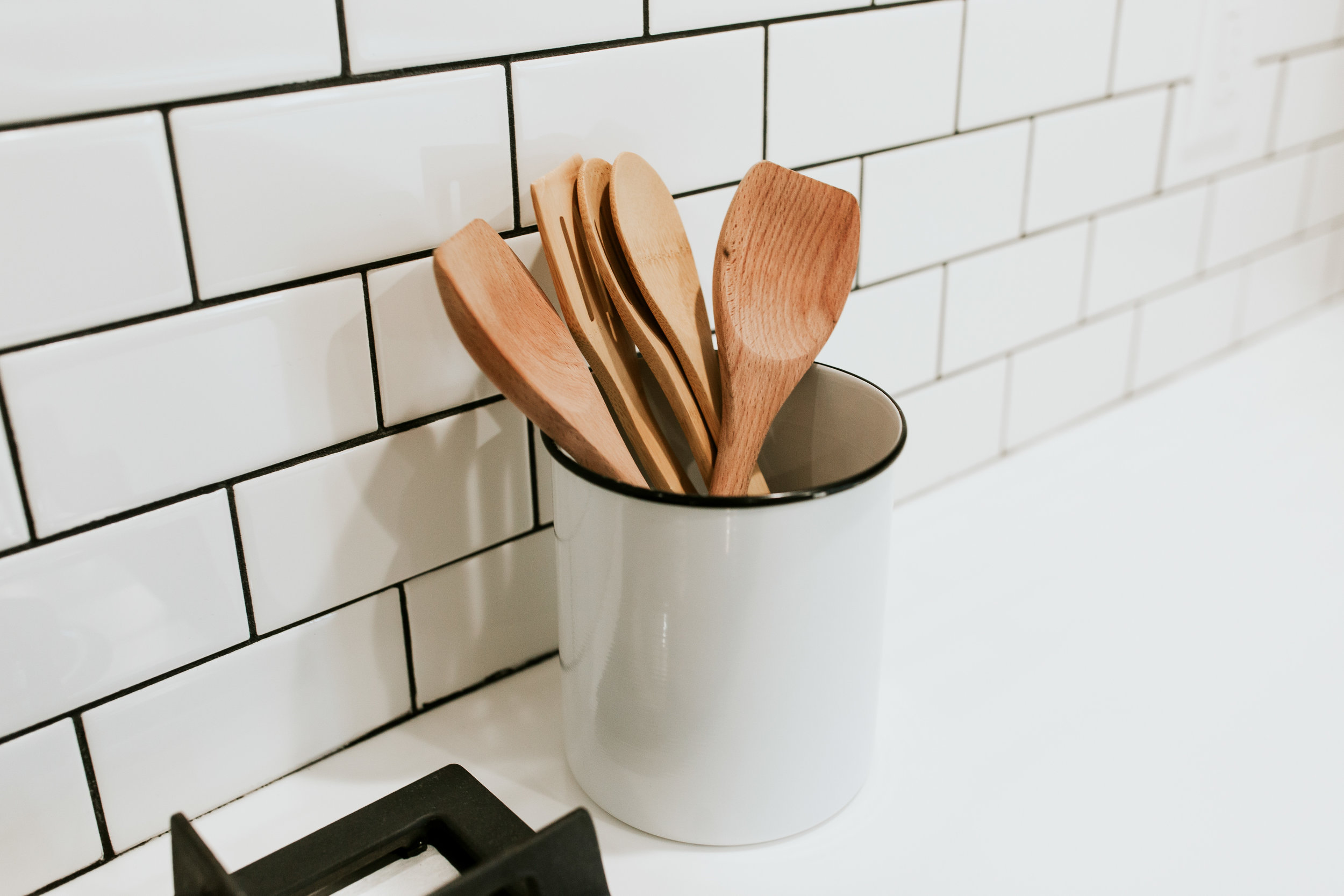 modern kitchen sources - Ikea kungsbacka cabinets, subway tile, modern decor, wood spoons, canister