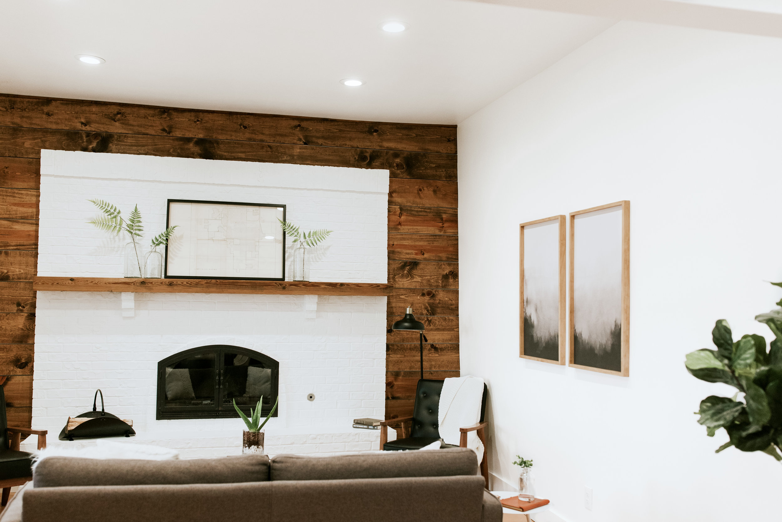 The full living room reveal - modern, mid century, outdoorsy, and minimal style home