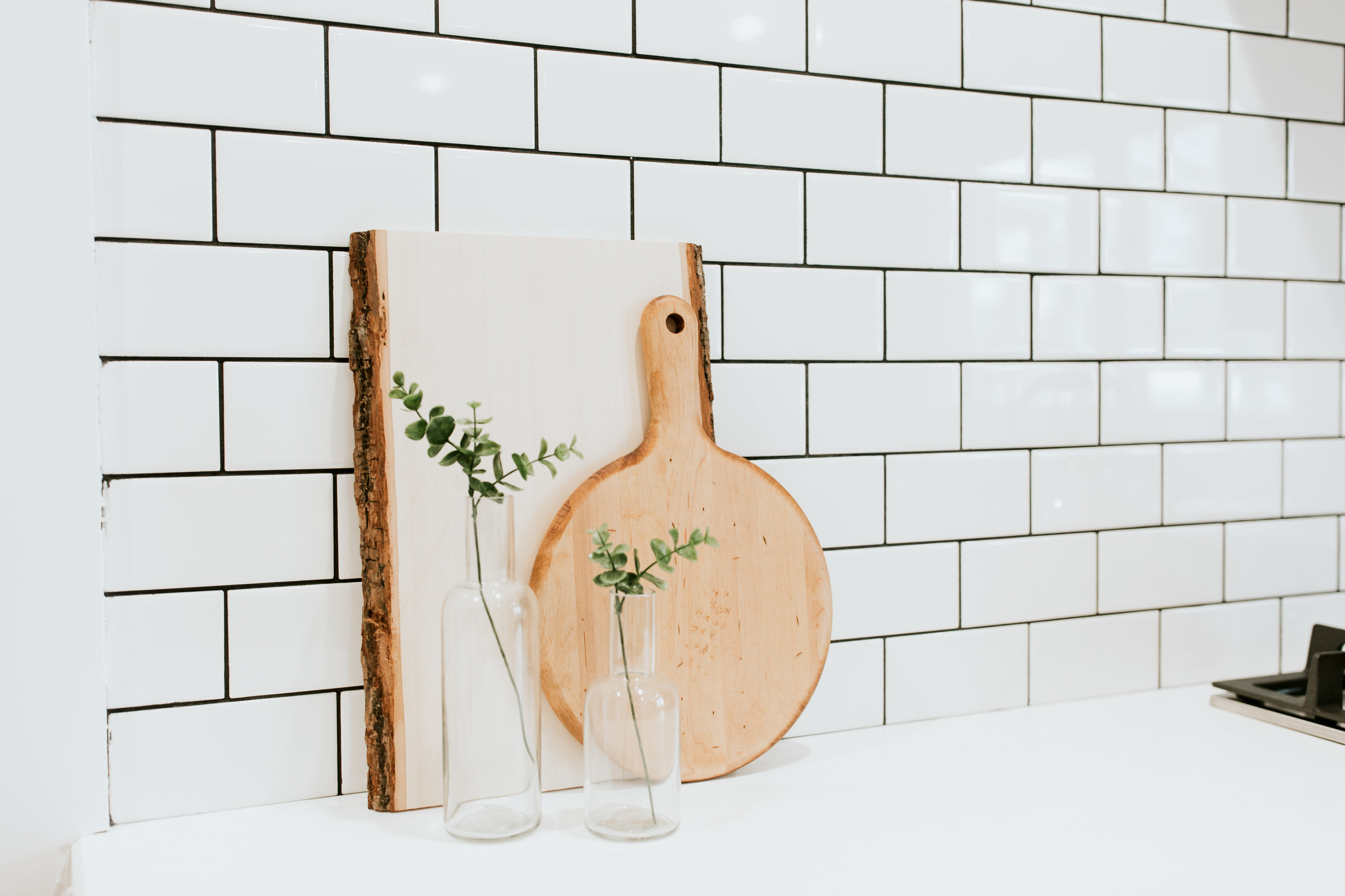 modern kitchen sources - Ikea kungsbacka cabinets, subway tile, modern decor, wood cheese board