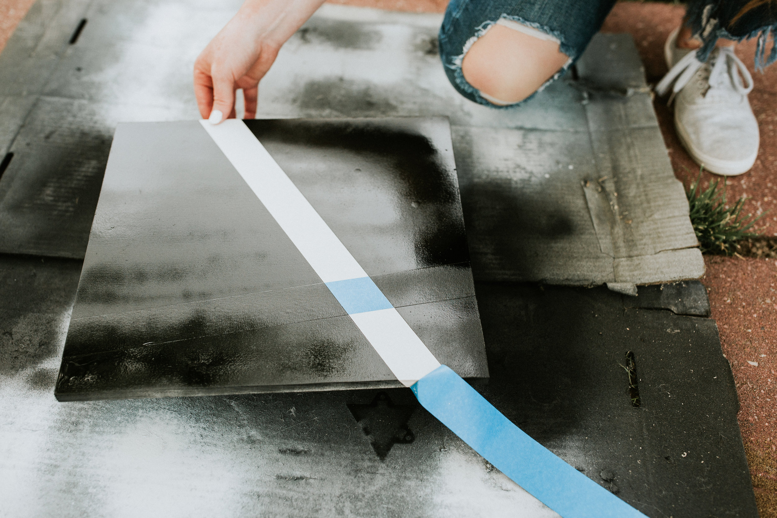 Step 5: Peel off your tape  - While the paint is still wet, carefully peel off your tape.