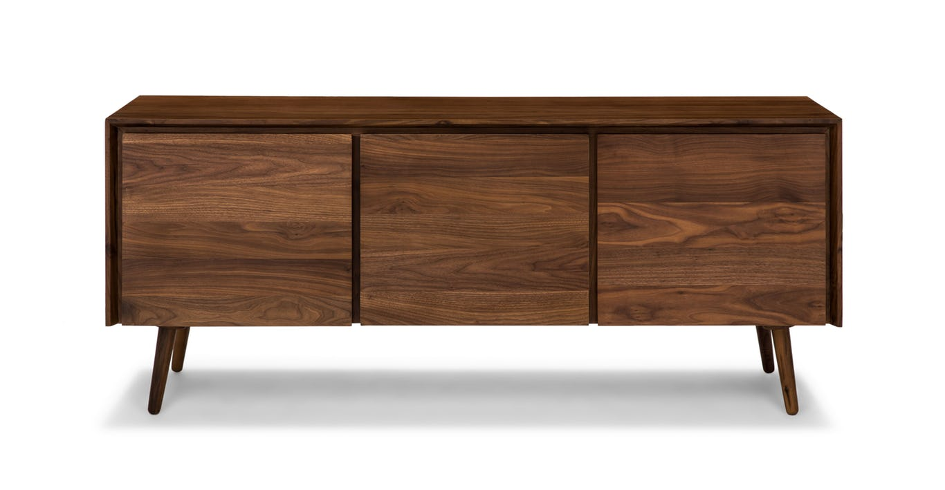 Wood console, dresser from Article - A how to guide for artwork placement - how high to hang art and how far apart. Interior Design art hanging rules.