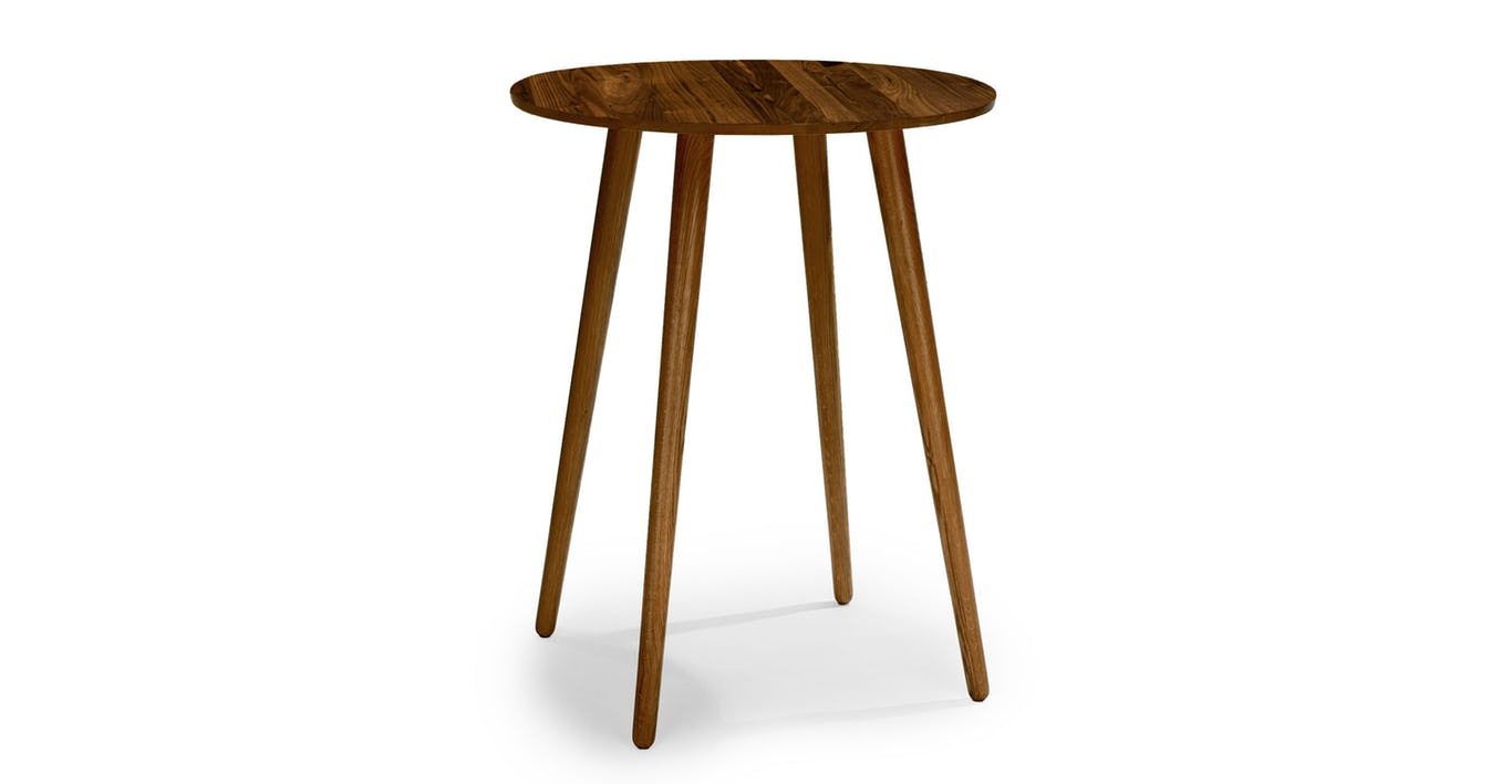 Wood side table from Article - A how to guide for artwork placement - how high to hang art and how far apart. Interior Design art hanging rules.