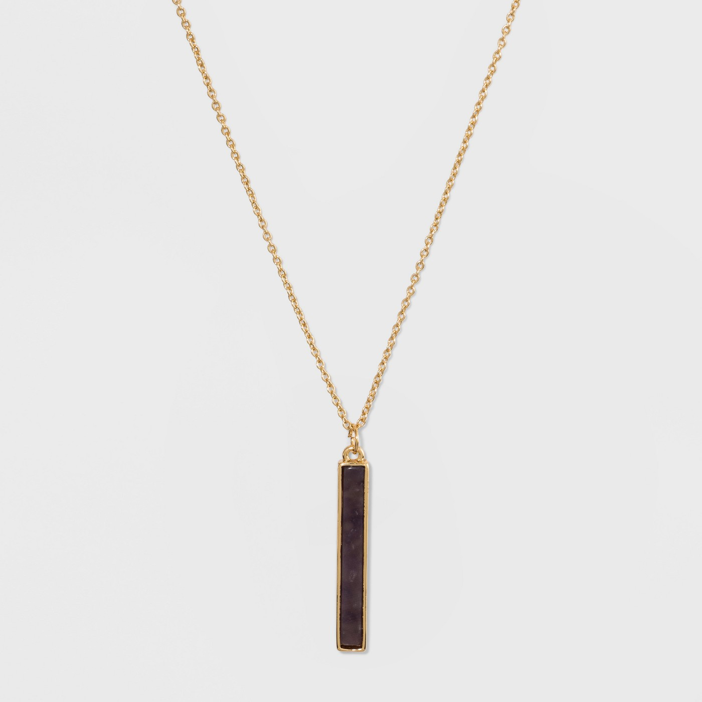 Silver Plated Stone Bar Necklace