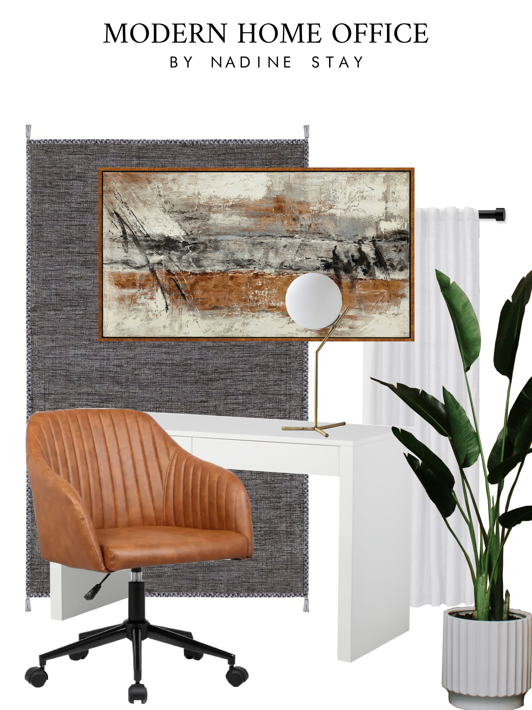 Home office inspiration & game plan - Converting our guest bedroom into an office. Waterfall desk, leather office chairs, black rug, and a walnut mid century dresser. Styling an office by Nadine Stay