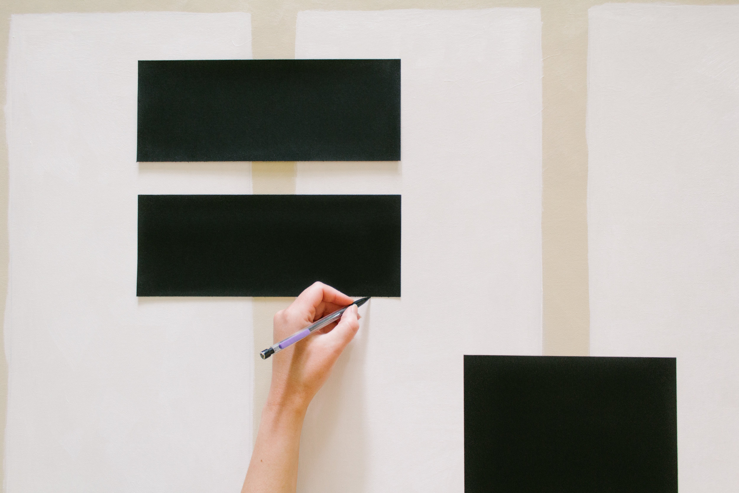 DIY Copycat Painting by Nadine Stay. Black, white, and beige artwork with an antique brass frame. Acrylic paint on canvas. Modern geometric artwork for the home.