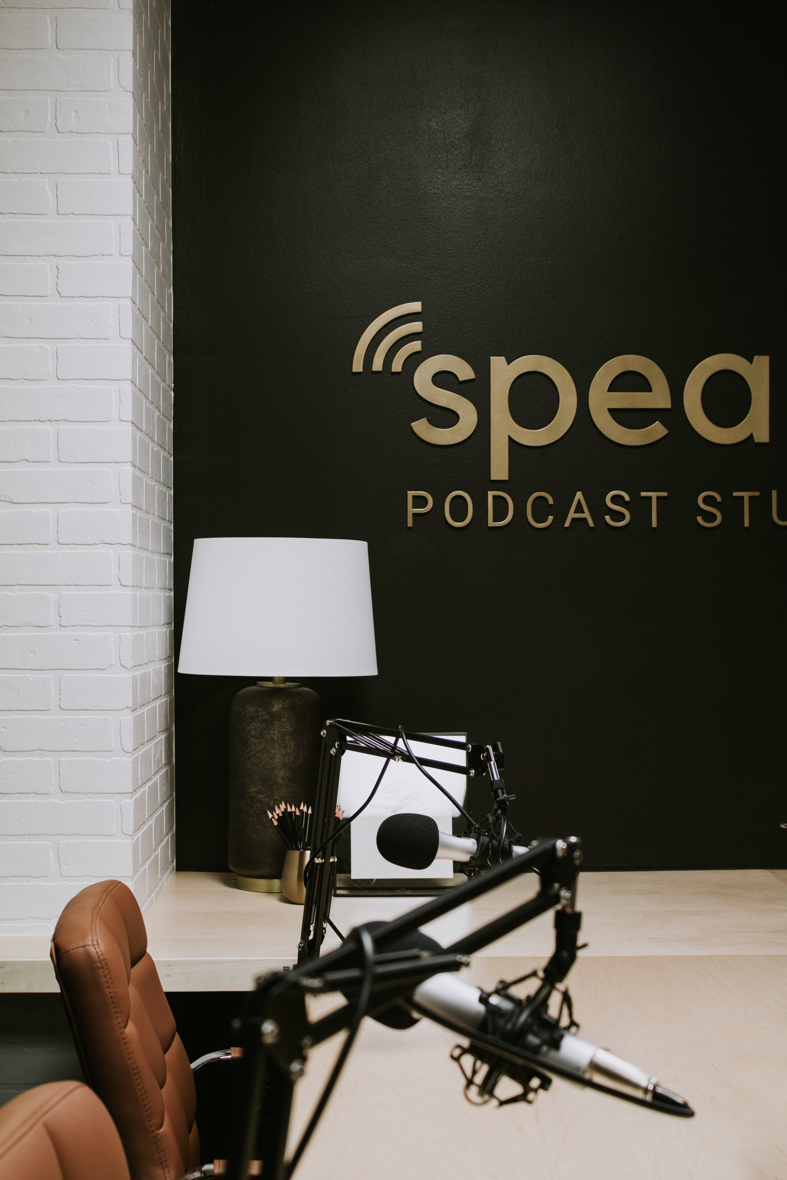 Speak Podcast Studio Reveal! Full transformation and makeover by Nadine Stay. Speak Podcast Studio is located in Lincoln, Nebraska. A podcast recording studio. Modern & moody office makeover with black walls, oak wood accent wall, and modern artwork. A cozy recording studio