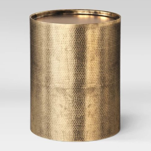 The High/Low List by Nadine Stay - Featuring Brass Accents. High end pieces and their (cheaper) twins. Brass home decor, furniture, and accessories. Hammered antique brass drum side table lamp from Target.