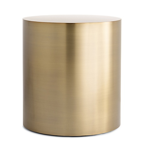 The High/Low List by Nadine Stay - Featuring Brass Accents. High end pieces and their (cheaper) twins. Brass home decor, furniture, and accessories. Brass drum side table lamp from Design Within Reach.