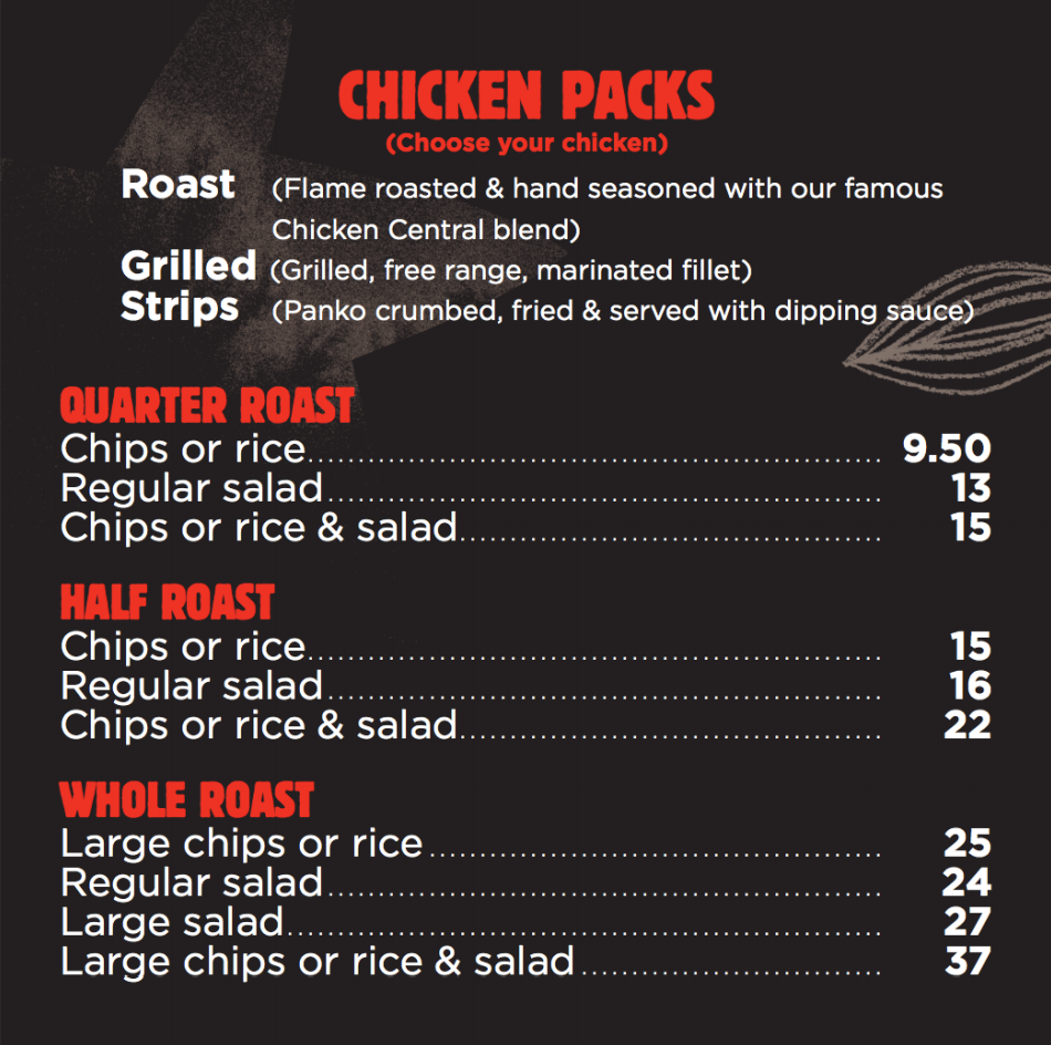 Chicken Central menu whole chickens chicken packs Melbourne  Chicken and chips
