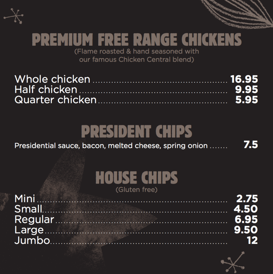Chicken Central menu free range chickens chips Melbourne Rotisserie Chicken Family meals chicken and chips