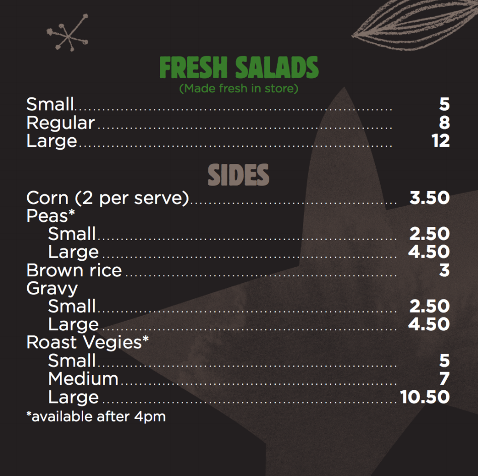 Chicken Central menu salads side dishes Melbourne