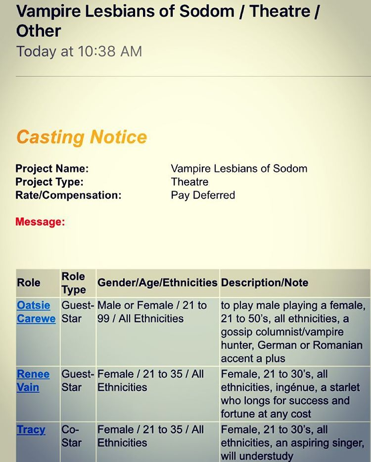 A nice #morning message from #castingnetworks #vampirelesbiansofsodom think I could play Renee ? #actorlife #actorproblems #areyoukiddingme ? #lol #twomodelsdo