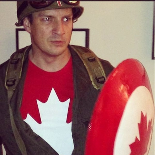 Happy #canadaday !!! Time for some #poutine and #coffeecrisp #nathanfillion #captaincanada #canada #eh