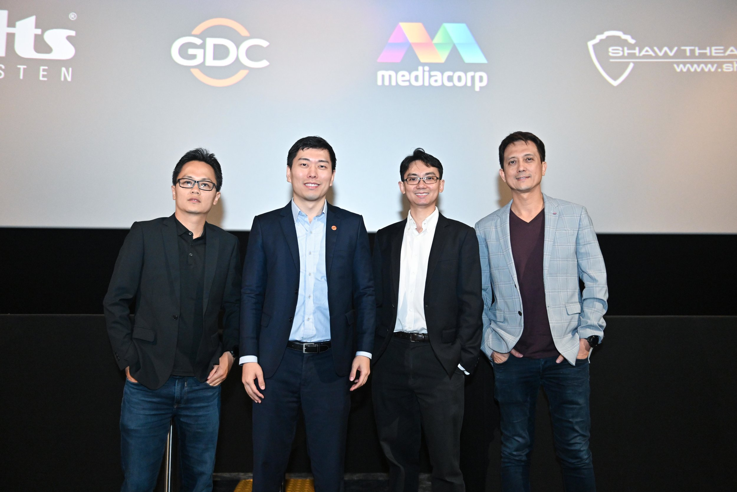 (Left to right) Mr Cedric Tio, Senior Staff Engineer, DTS Singapore; Mr Sungyun Gim, General Manager, GDC Technology Singapore; Mr Terence Heng, Vice President, Shaw Organisation; and Mr Barry See, Head, Production Resource, Mediacorp