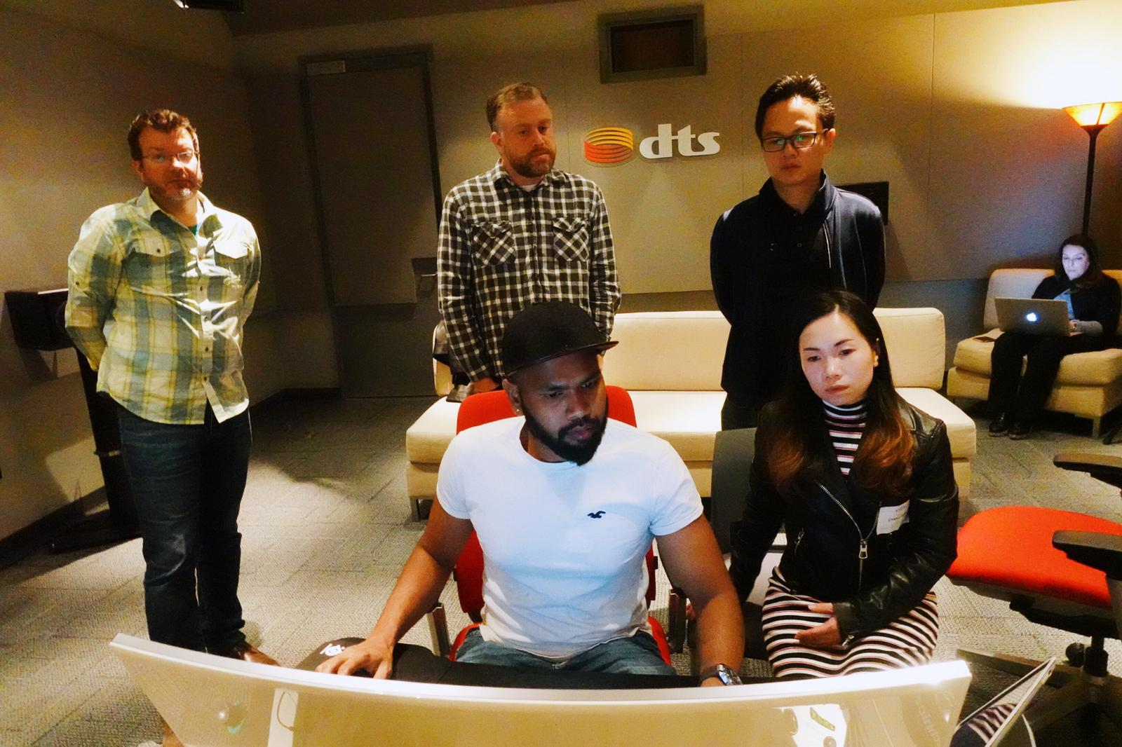Sound Designer Naveen and Li Shen carefully applied what they learned in the classroom of DTS office.