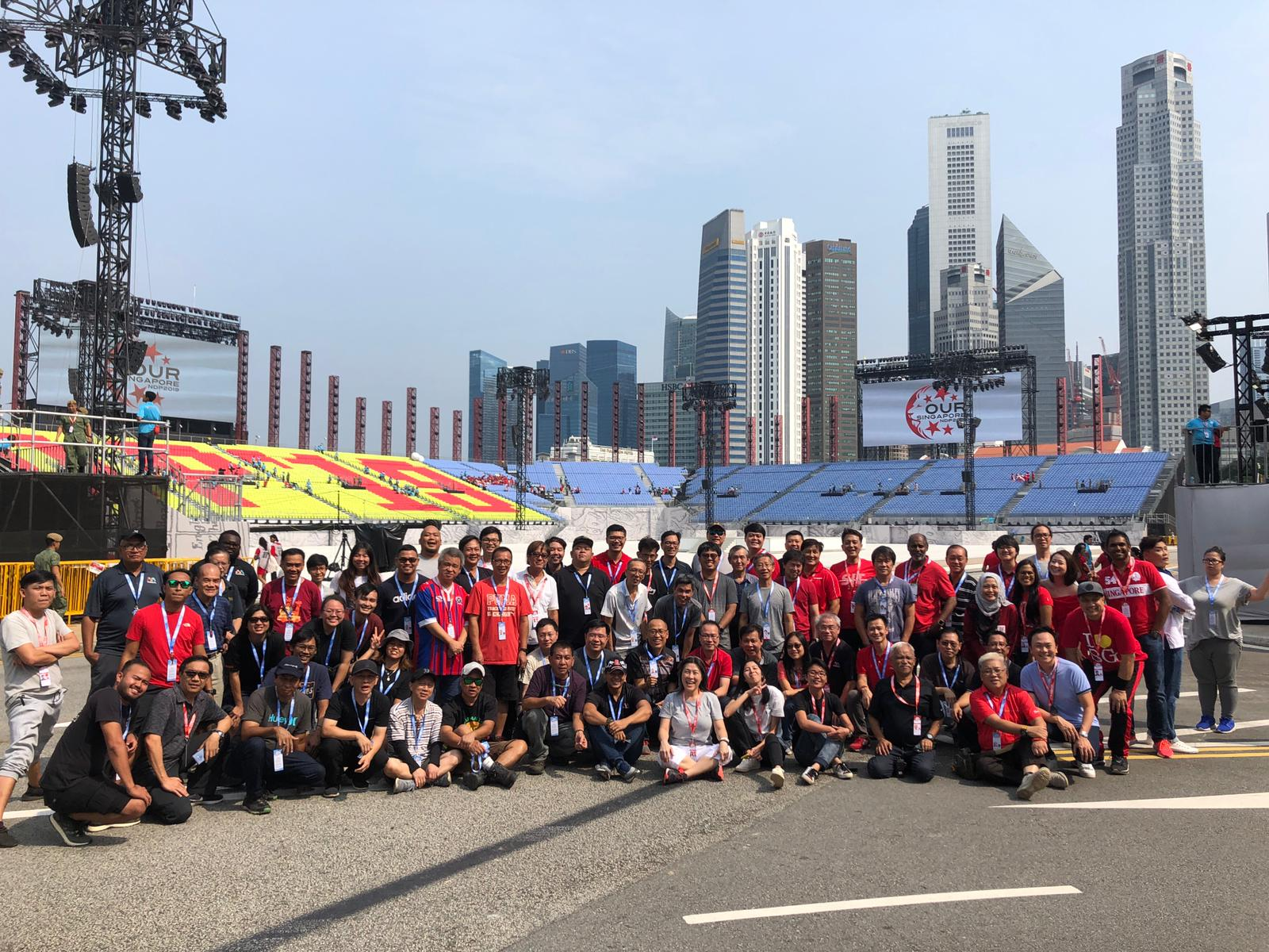 The group shot of the production team and OB crew was taken in the afternoon at the padang.