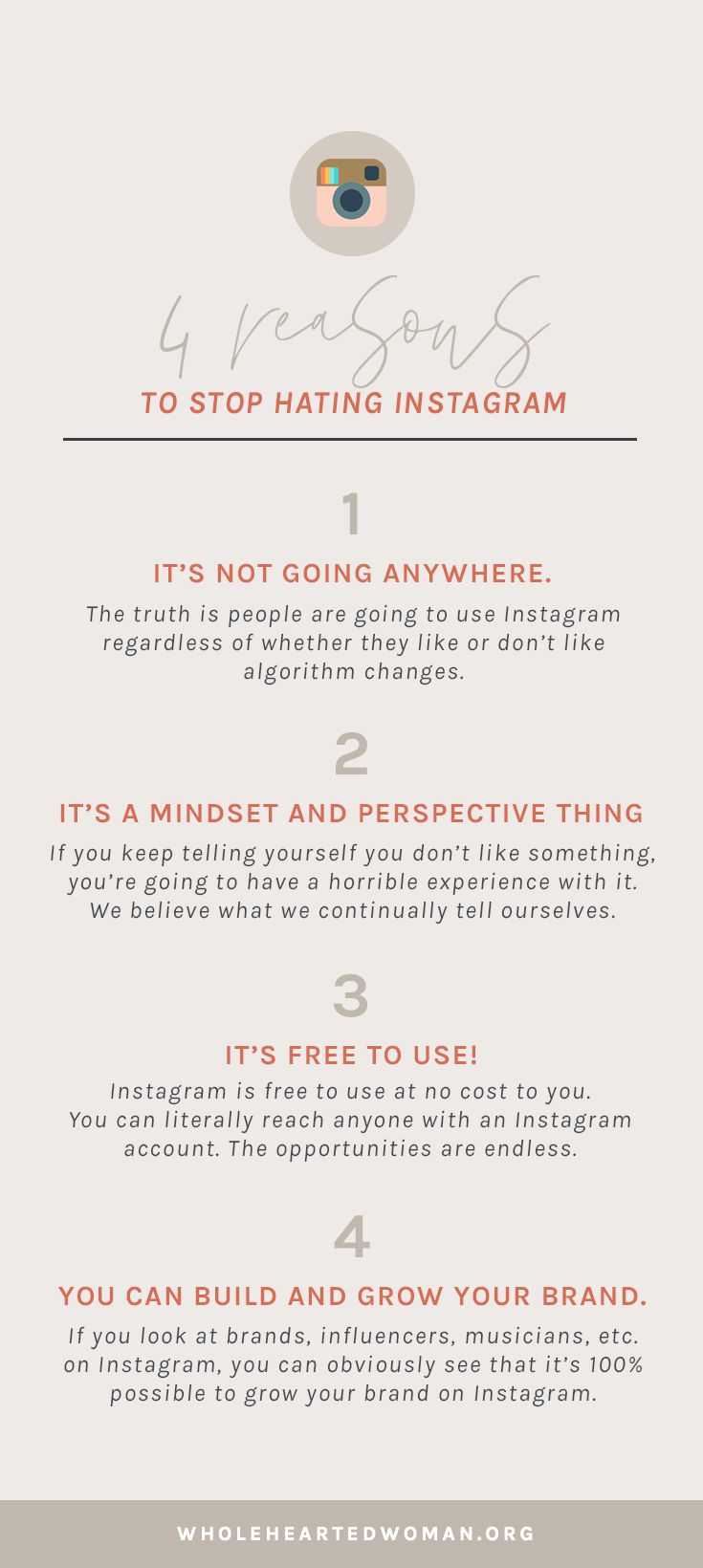 Why You Need To Stop Hating On Instagram (And How It's Hurting You) | How To Grow Your Business Using Instagram | Instagram Tips and Advice For Small Businesses and Creatives | Why Instagram Matters In 2018 | Social Media Growth in 2018 | Instagram Engagement | Wholehearted Woman | Self-Discovery | Personal Growth | Personal Branding | #personalbrand | #blog | #blogging | #blogger | #personalgrowth | #brandawareness | #instagram | #socialmedia