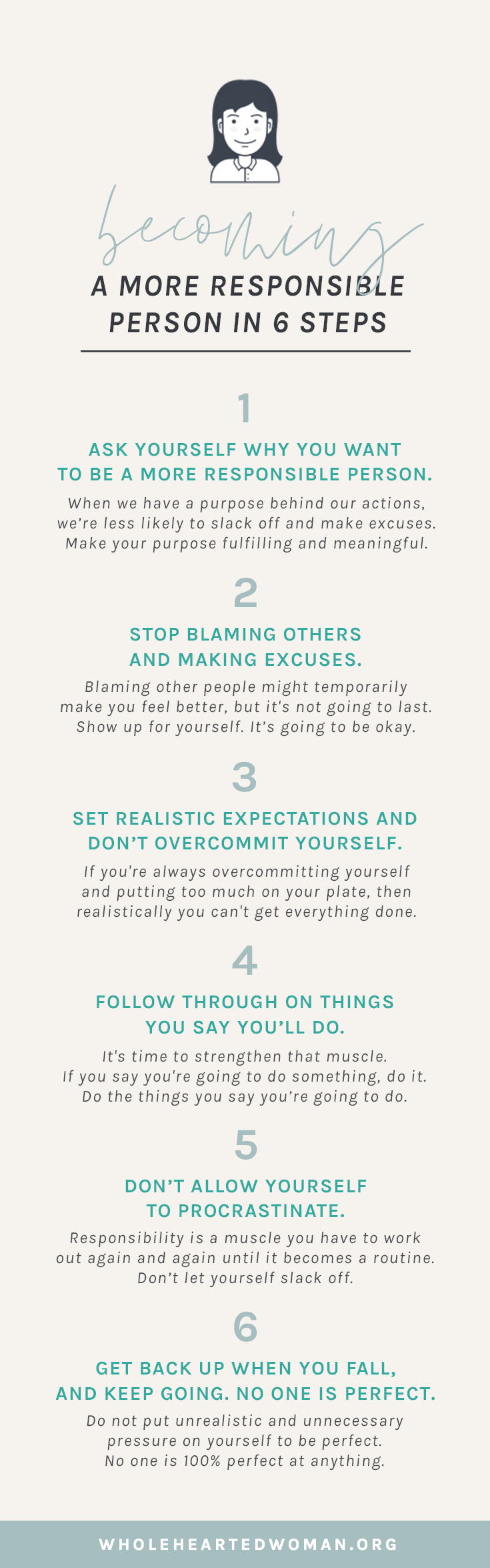 How To Become A More Responsible Person In 6 Steps | How To Adult In Your Twenties | How to Take Responsibility for Your Life | How To Change Your Actions | Changing Your Mindset | Personal Growth & Development | Mindfulness Advice For Millennials | Self-Discovery | Self-Acceptance |Wholehearted Woman | #selfawareness | #personalgrowth