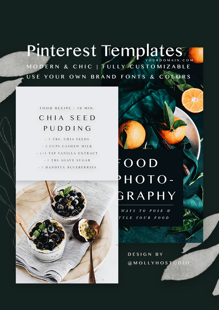 Modern & Chic Pinterest Template Set for Food Bloggers and Small Businesses | Pinterest Post | Fully Customizable | Easy to Use & Edit | Social Media Marketing | Social Media Graphics | Social Media Marketing | Grow Your Pinterest | How To Increase Your Traffic With Pinterest | Blog Post Graphics | Molly Ho Studio
