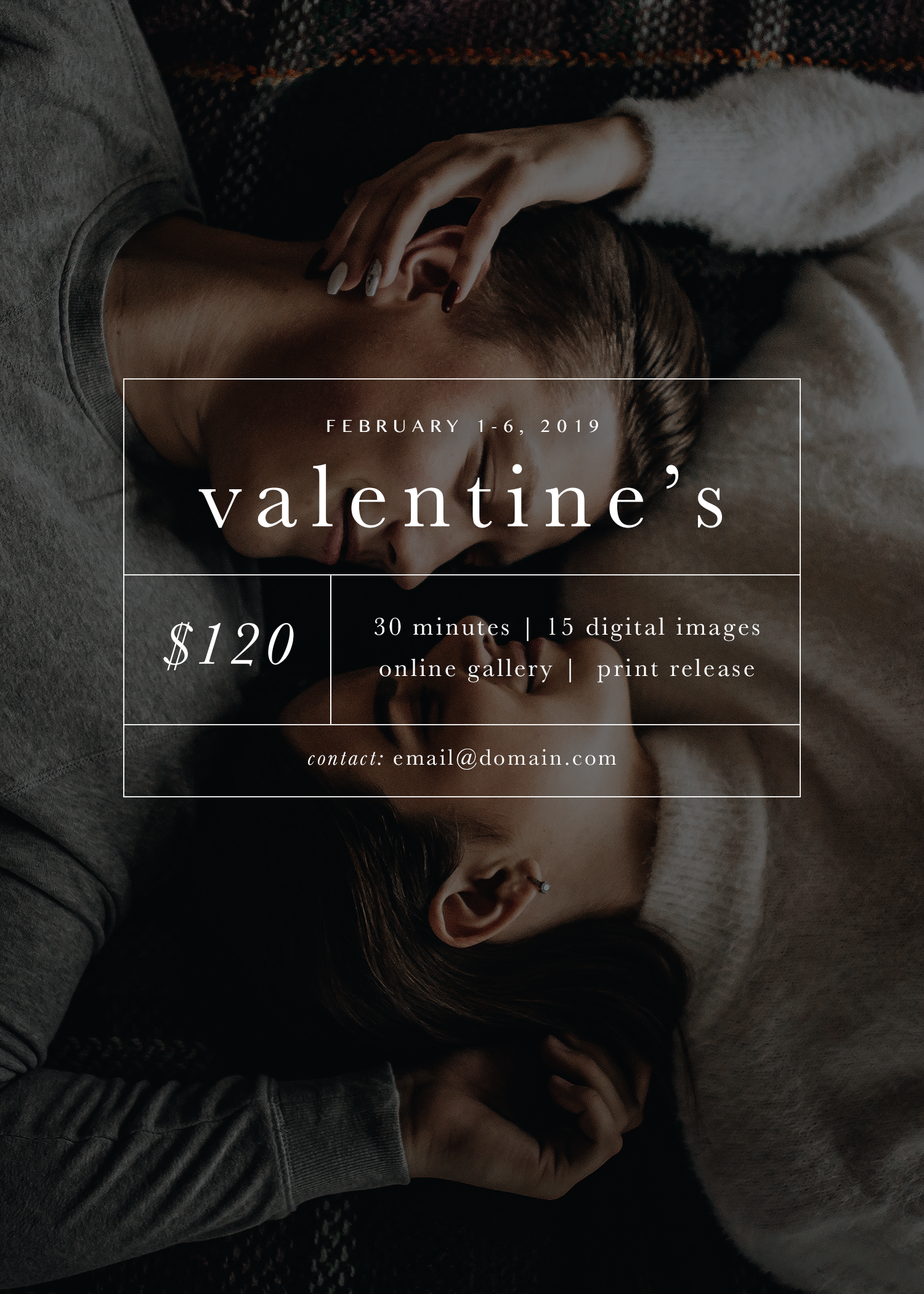 Valentine's Mini Session Template for Photographers | Valentine's Day | Mini Session Pricing Template | Social Media Template | Design Templates for Creative Entrepreneurs | Design Inspiration | Graphic Design | Molly Ho Studio