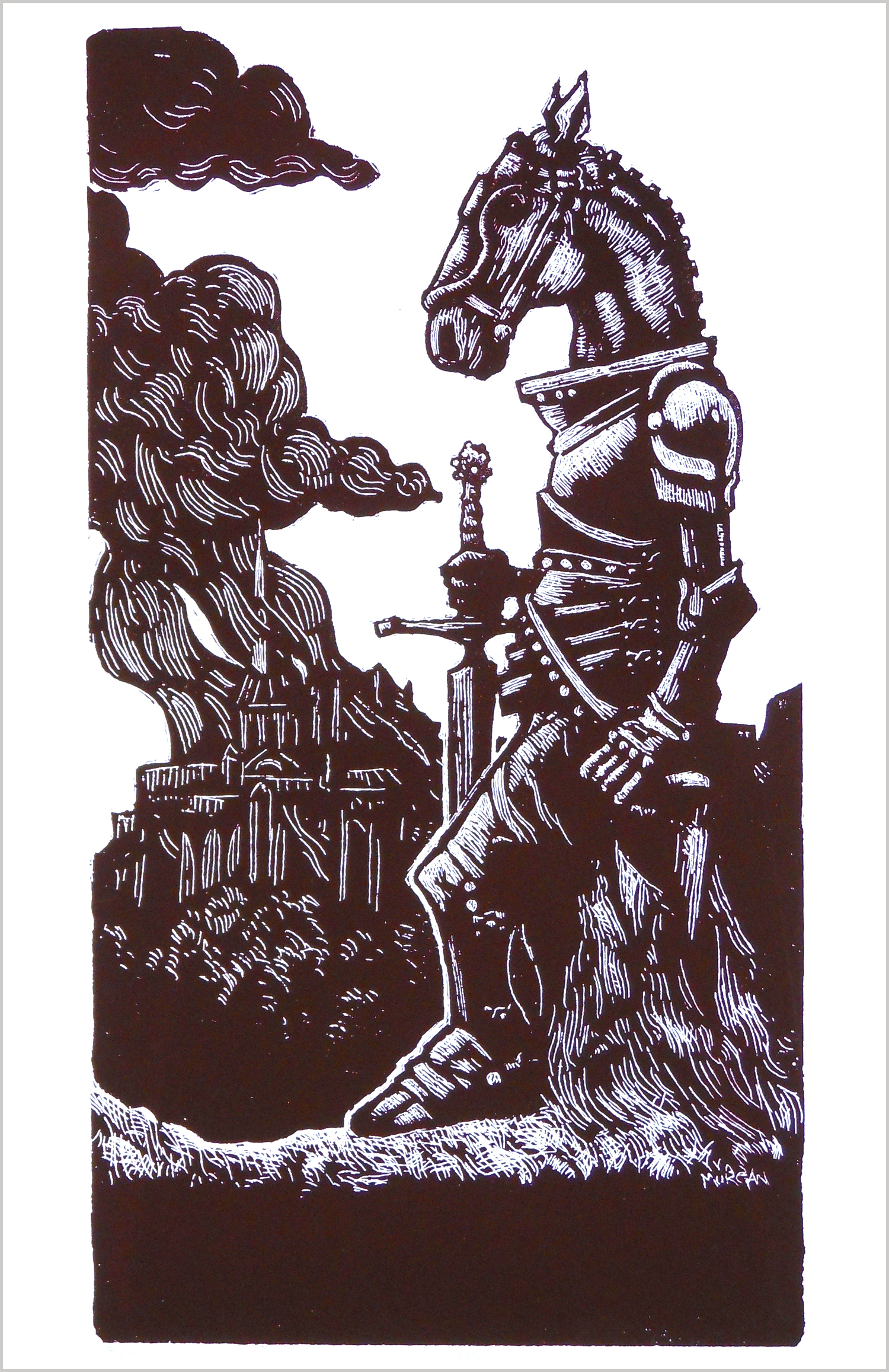 Horse screenprint Throwing Bones knight