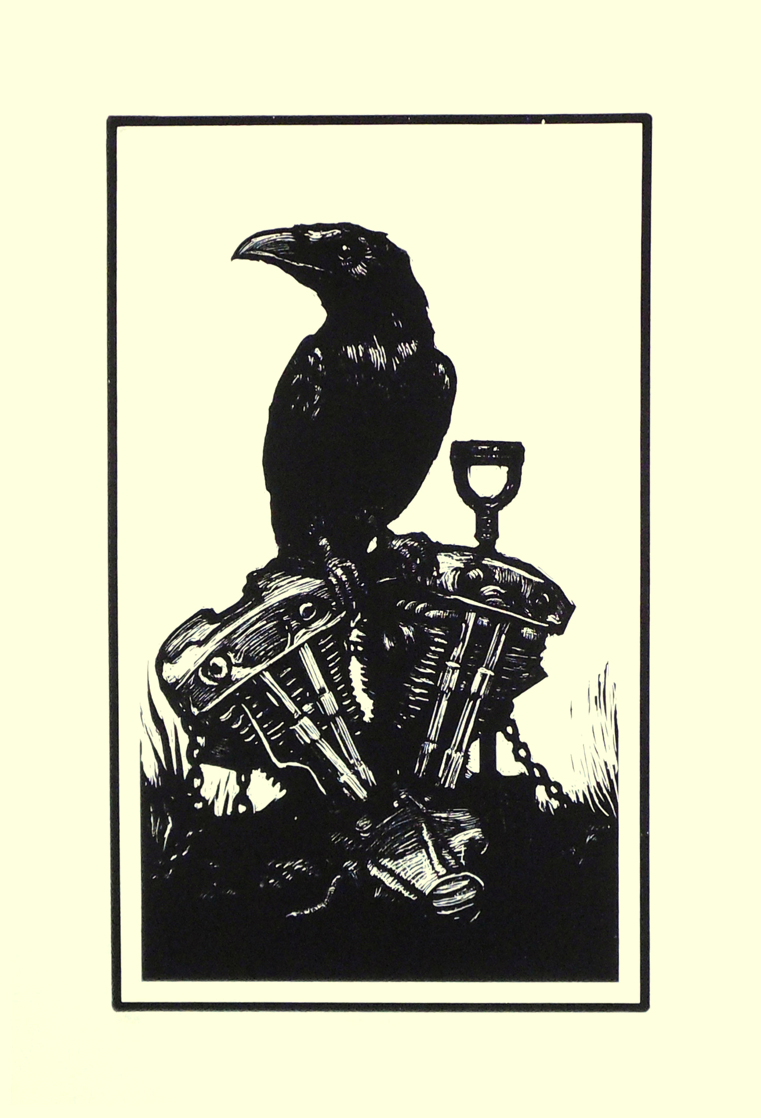 Resurrect screenprint raven