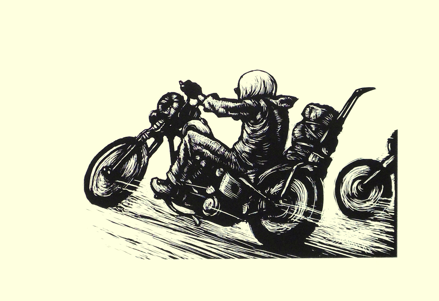 Road screenprint motorcycle